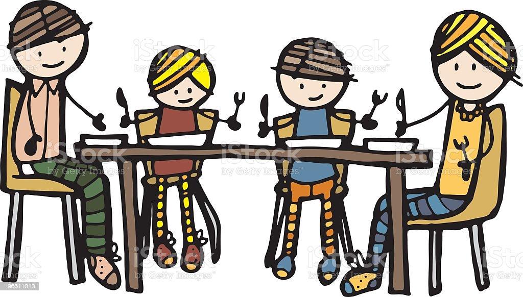 Família refeição - Royalty-free Adulto arte vetorial