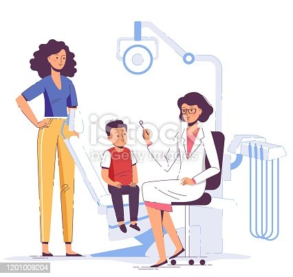 istock Family medicine dental concept. Dentist, mother and child in dentistry office. 1201009204