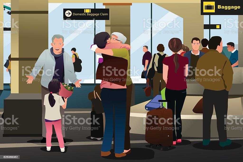 Family Meeting at the Airport - ilustración de arte vectorial