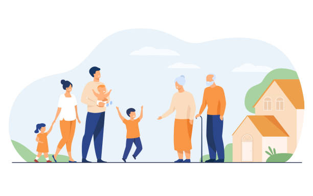 Family meeting in grandparents country house Family meeting in grandparents country house. Excited children and parents visiting grandmother and grandfather, boy running to granny. Vector illustration for happy family, love, parenting concept happy family stock illustrations