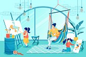 Family Members Engaged in Creativity Together Flat Cartoon Vector Illustartion. Daughters Drawing, Painting on Easel in Studio. Mother Sitting in Hammock Drinking Tea and Watching Girls.