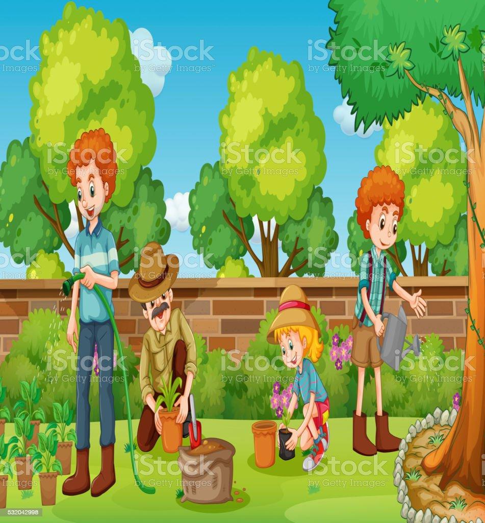 Family Members Happy In The Garden Stock Illustration