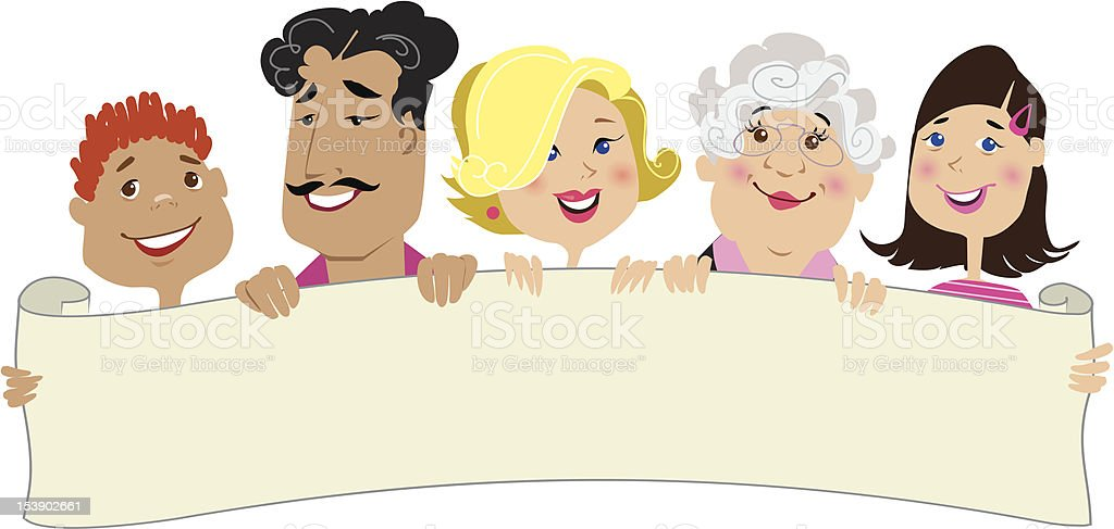 Family members holding a blank scroll royalty-free stock vector art