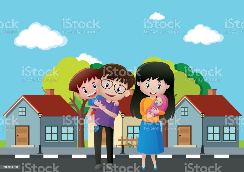 Family members in front of the house royalty-free family members in front of the house stock vector art & more images of adult