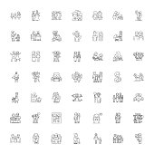 Family members line icons, signs, symbols vector, linear illustration set
