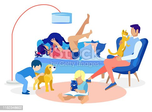 Family Members Resting with Pets at Home Cartoon