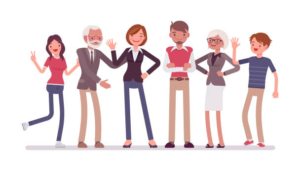 family members together - happy family stock illustrations