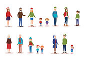 family members with winter clothes vector illustration design