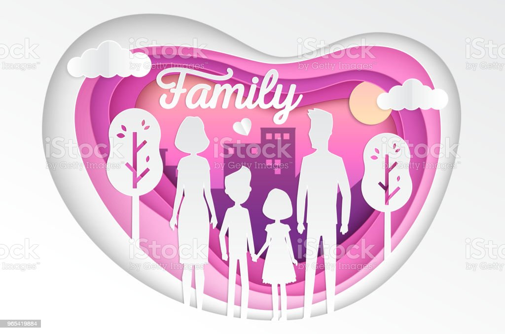 Family - modern vector paper cut illustration royalty-free family modern vector paper cut illustration stock vector art & more images of adult