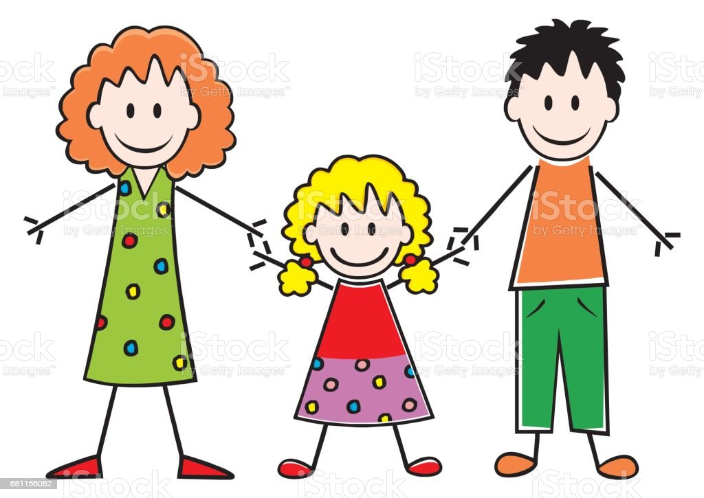 Family, mother, daughter and father vector art illustration
