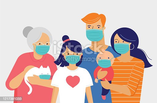 Family, mother, father, baby and a girl wearing medical masks during coronavirus pandemic outbreak. Covid-19 concept. Self isolation, quarantine. Vector flat style illustration