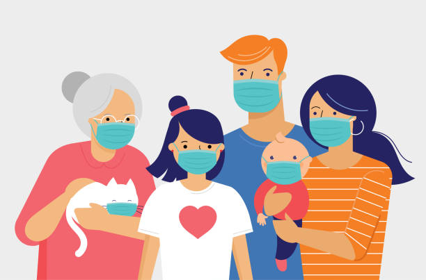Family, mother, father, baby and a girl wearing medical masks during coronavirus outbreak. Covid-19 concept. Self isolation, quarantine. Vector flat style illustration Family, mother, father, baby and a girl wearing medical masks during coronavirus pandemic outbreak. Covid-19 concept. Self isolation, quarantine. Vector flat style illustration covid mask stock illustrations