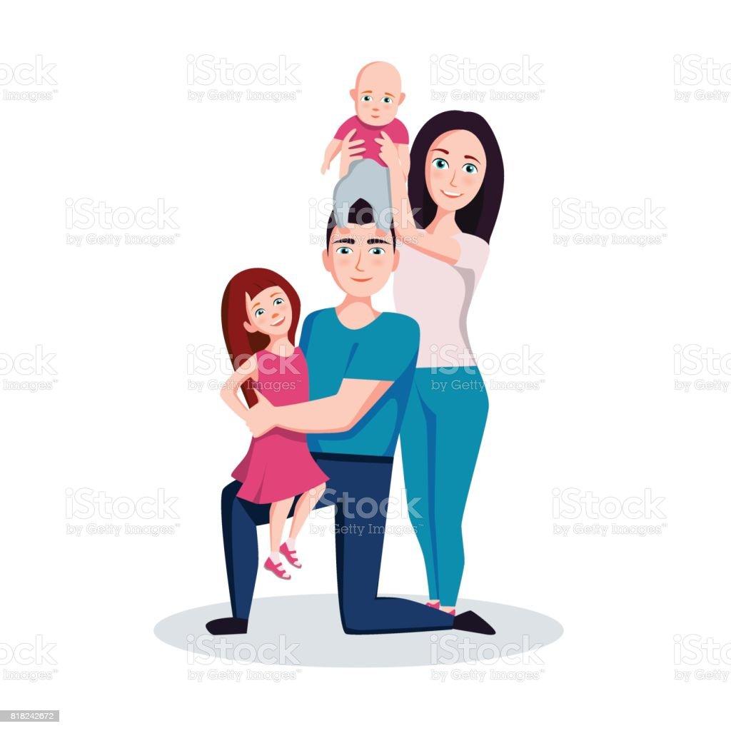 Ilustración de Familia Madre Padre Hijo E Hija Vector Ilustración De ...