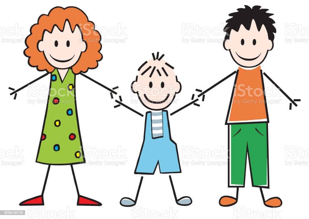 Family, mother, son and father vector art illustration