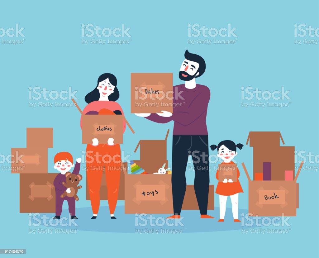 Família, movendo-se para uma nova casa com caixas - Vetor de Adulto royalty-free