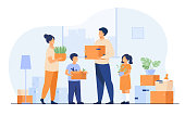 Family moving to new house. Happy cartoon man, woman, boy, girl carrying boxes in apartment. Vector illustration for new home, delivery service concept
