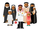 Islam arabic doctor standing together with father, mother, children and grandparents.