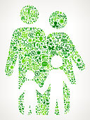 Family Environmental Conservation and Nature interface icon Pattern. This royalty free vector art features nature and environment icon set pattern. The major color is green and icons include trees, leaves, energy, light bulb, preservation, solar power and sun. Icon download includes vector art and jpg file.