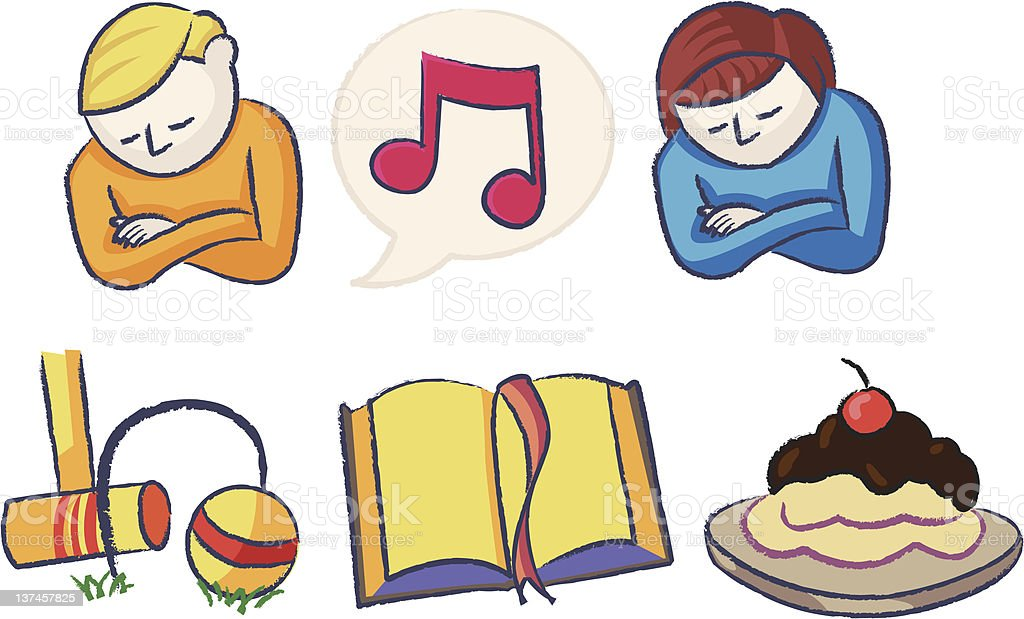 Family Night Icons vector art illustration