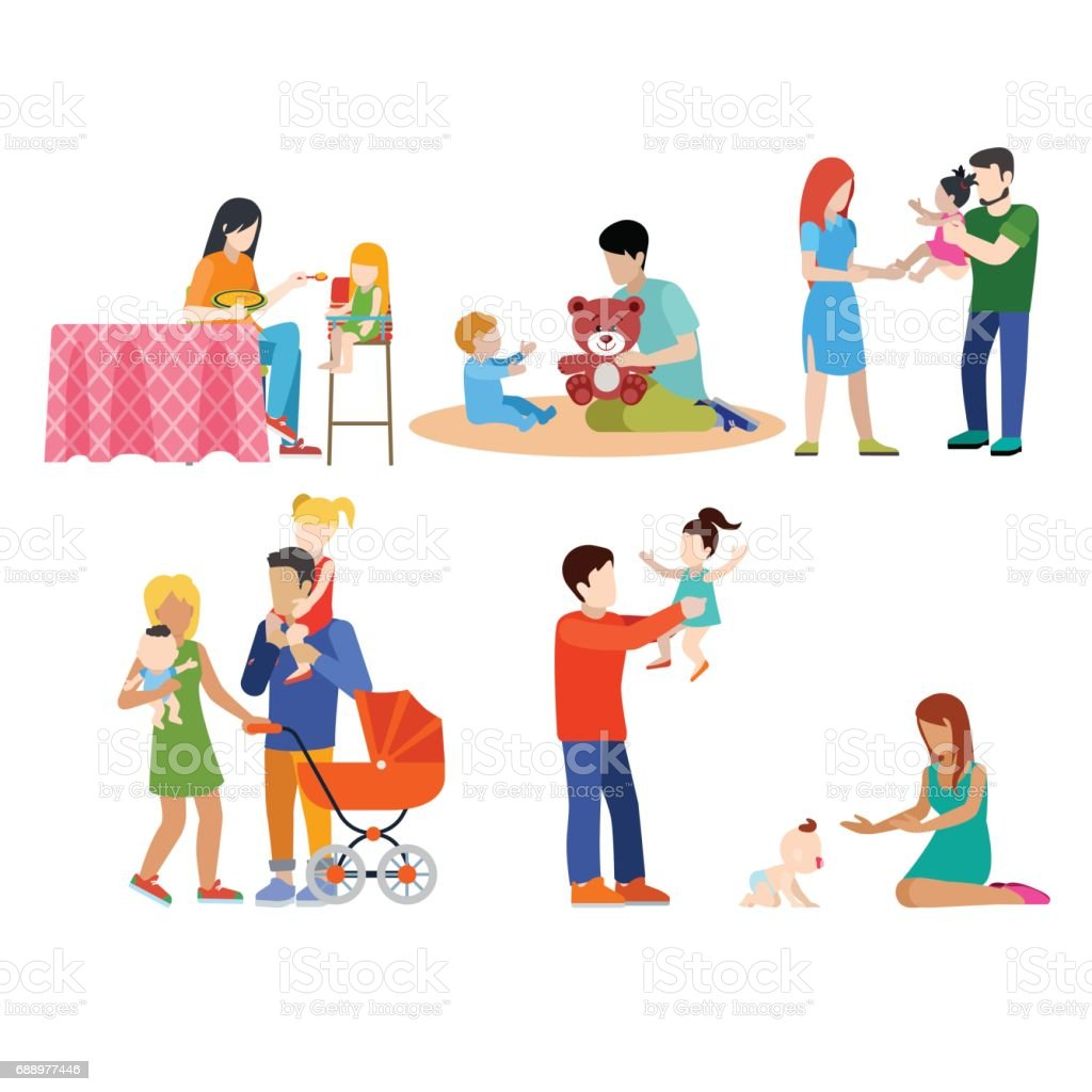 Family nursing babysitting young people parents parenting couple flat web infographic concept vector icon set. Playground babysitter mother father. Creative people collection. vector art illustration