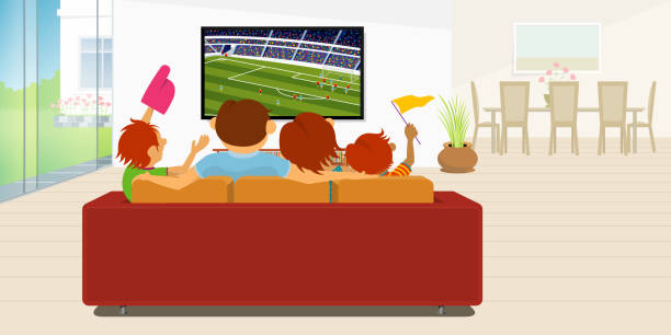 family of 4 members sitting on a red sofa in their living room inside their house watching a soccer game on a large flat television during the day - alejomiranda stock illustrations