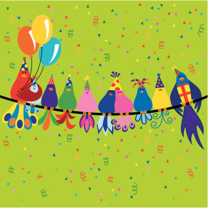 Family of birds at a birthday party