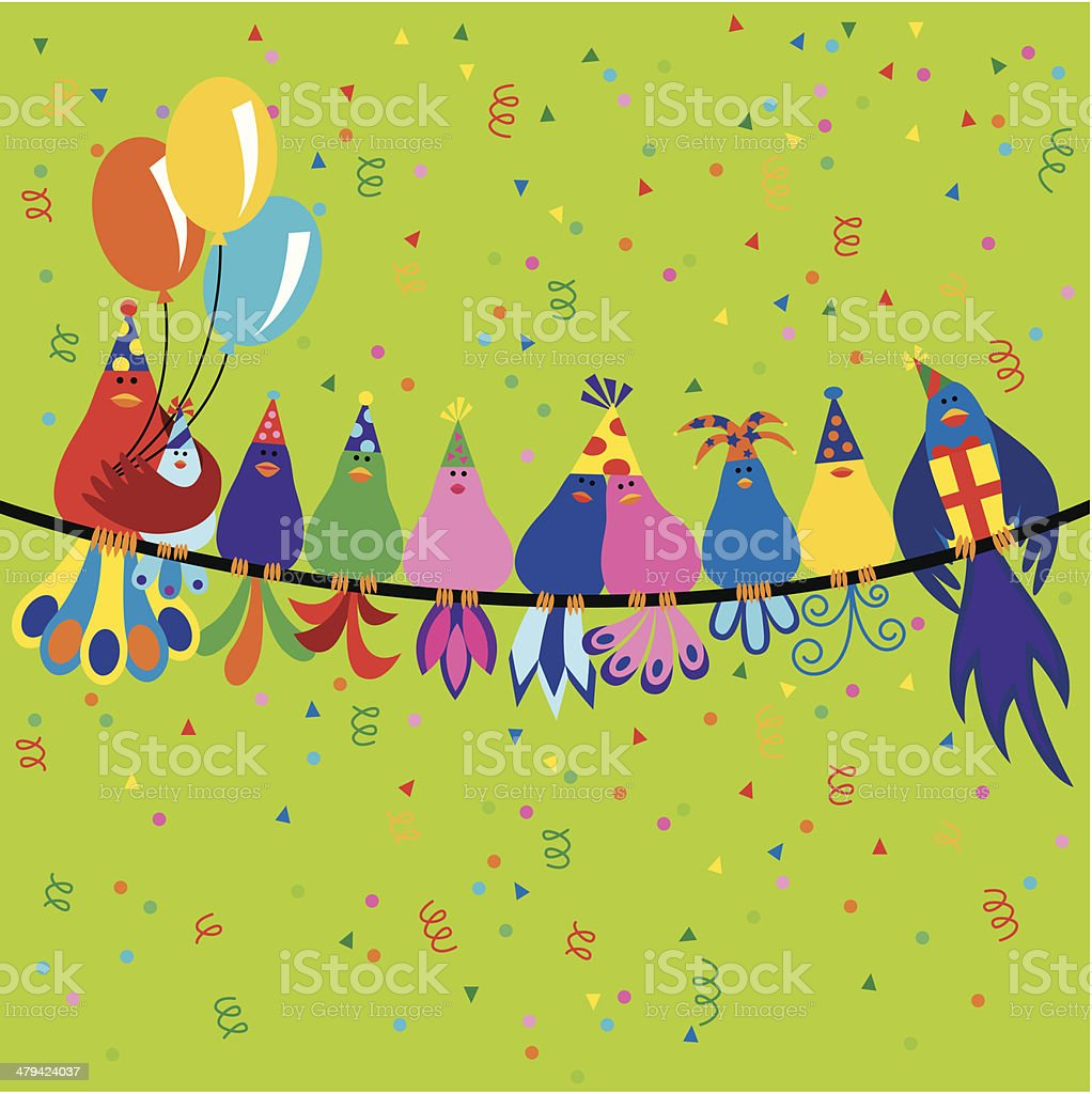 Family of birds at a birthday party vector art illustration