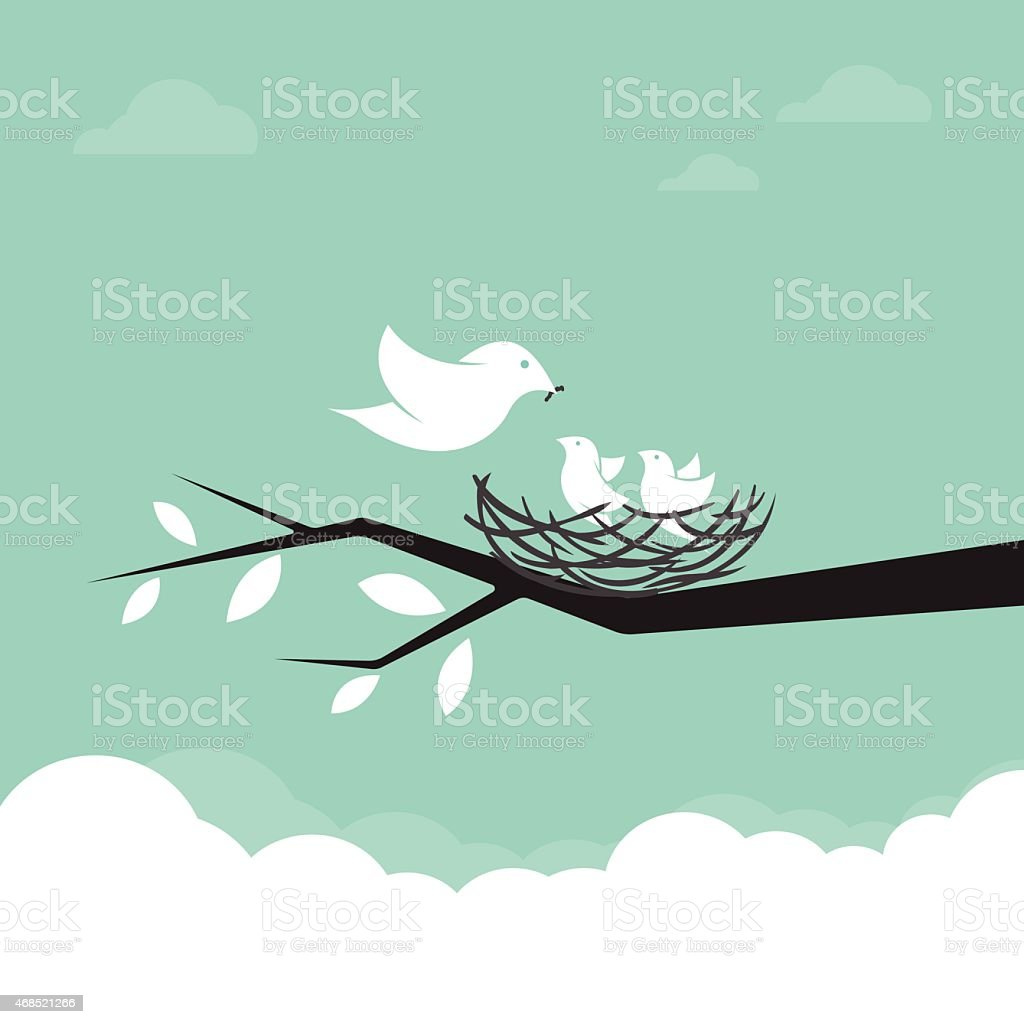 Family of birds that are feeding the baby, illustration. vector art illustration