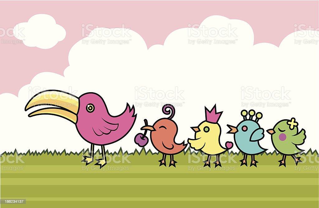 Family of birds royalty-free stock vector art