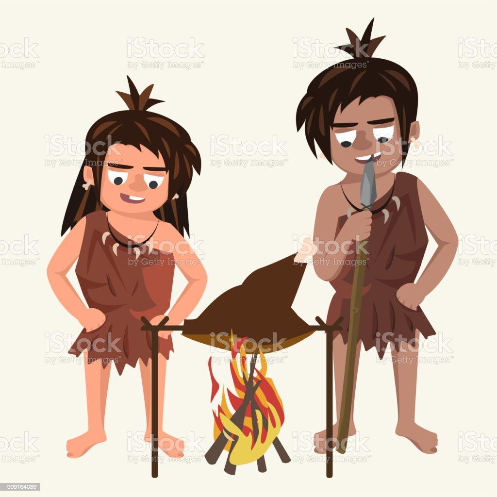 Familie von Höhlenmenschen Braten Fleisch an dem Spiel Vector Cartoon illustrati – Vektorgrafik