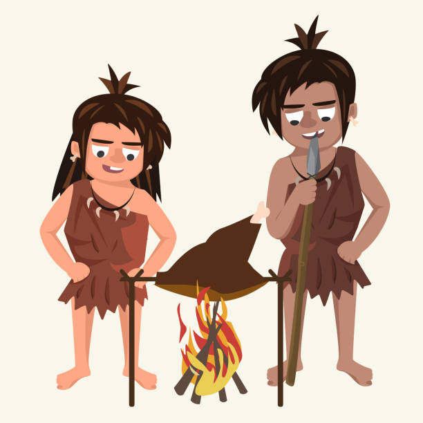family of cavemen roasts meat at stake vector cartoon illustrati - paleo diet stock illustrations, clip art, cartoons, & icons
