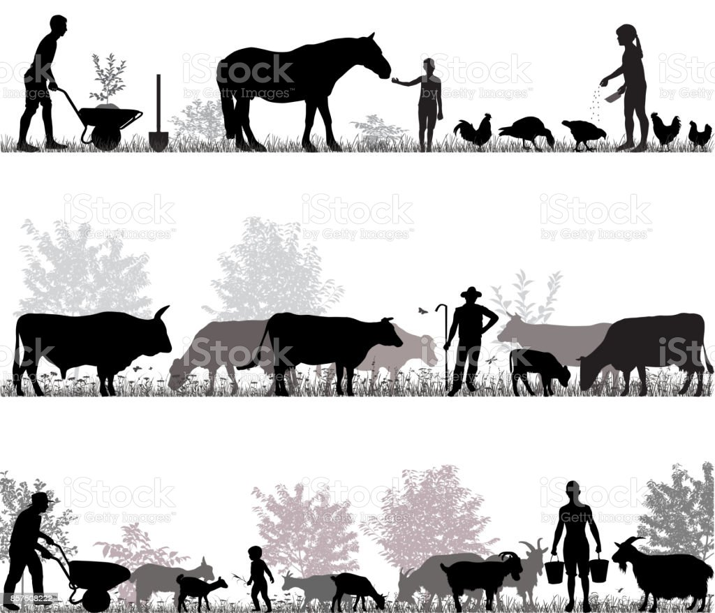 Family of farmers vector art illustration