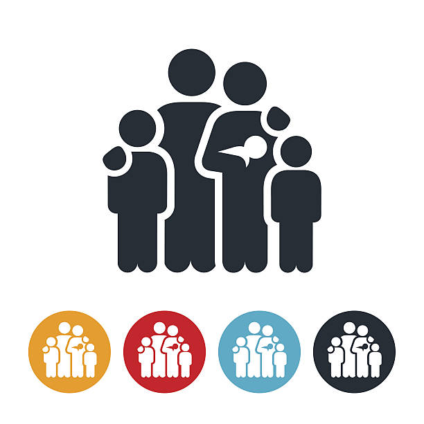family of five icon - 家族点のイラスト素材/クリップアート素材/マンガ素材/アイコン素材