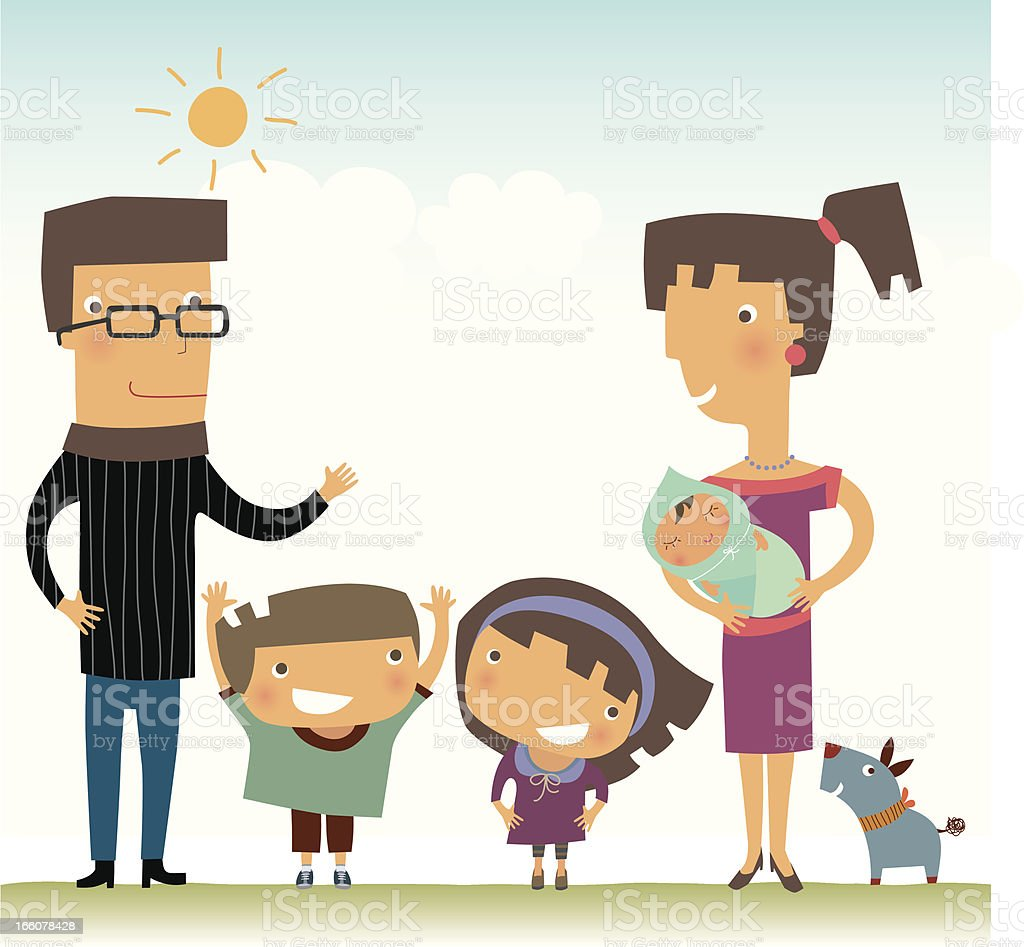 Family of Five royalty-free stock vector art