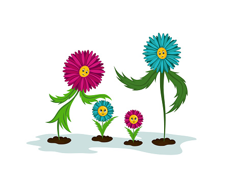 A family of flowers. Funny illustrations of Dad, Mom and Children.