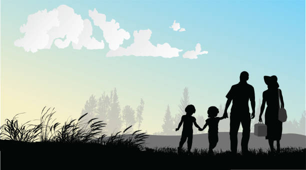 Family Of Four Picnic vector art illustration