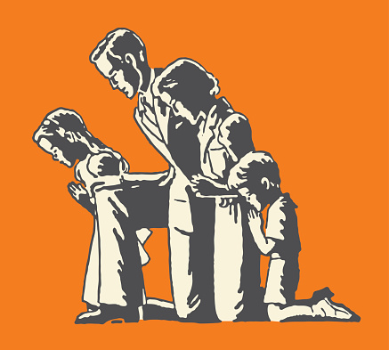 Family of Four Praying