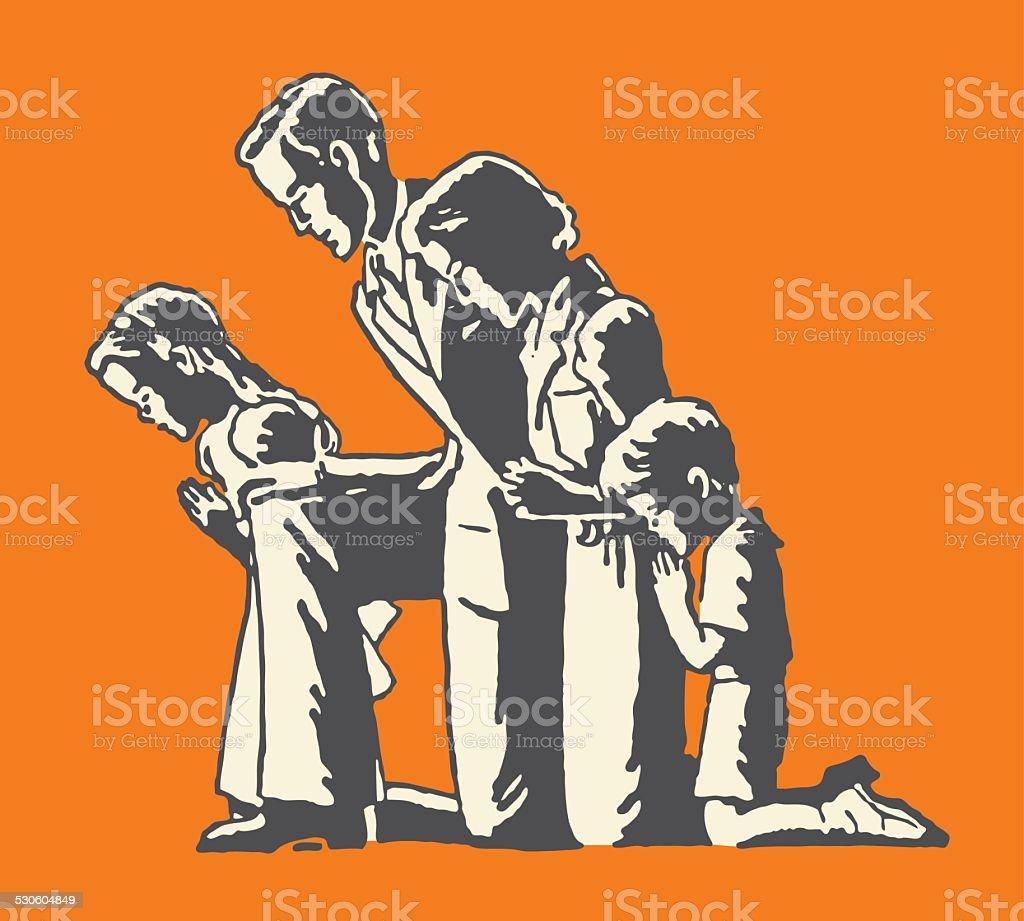 Family of Four Praying vector art illustration