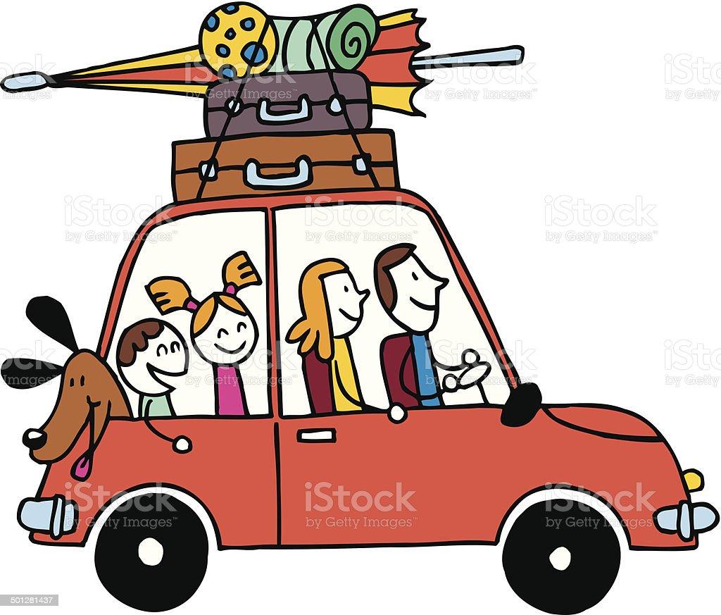 Vierköpfige Familie Urlaub, Wagen mit Gepäck reisen Vektor-illustration – Vektorgrafik