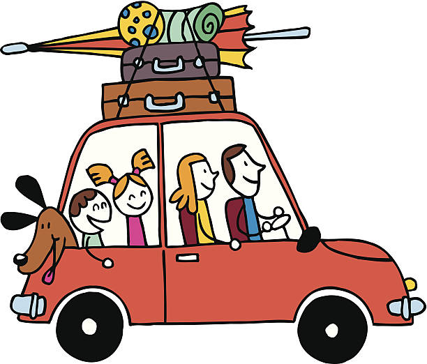 Family of four vacation, Car with luggage travel vector illustration vector art illustration