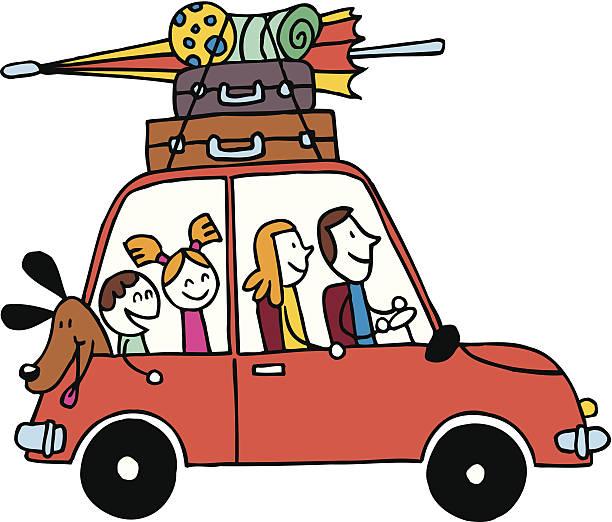 vierköpfige familie urlaub, wagen mit gepäck reisen vektor-illustration - familienausflüge stock-grafiken, -clipart, -cartoons und -symbole