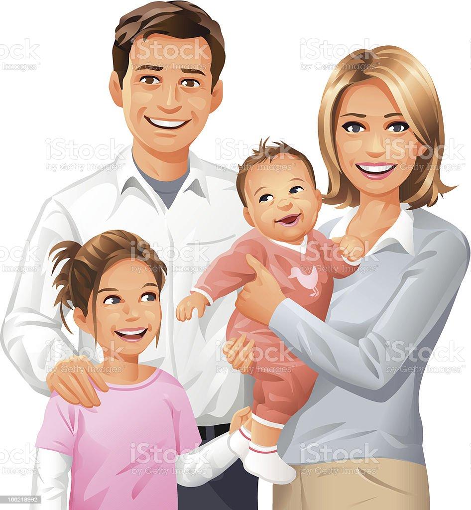 Family of Four vector art illustration