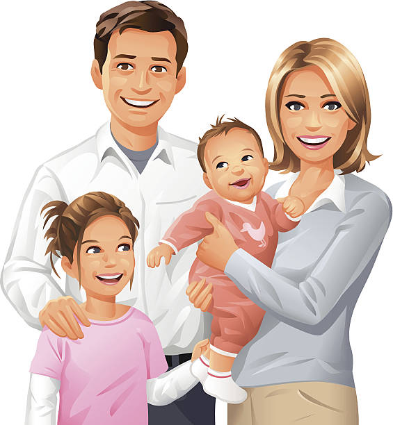 illustrazioni stock, clip art, cartoni animati e icone di tendenza di famiglia di quattro - couple portrait caucasian