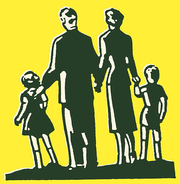 family of four - daughter stock illustrations, clip art, cartoons, & icons