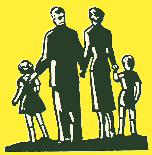 ilustraciones, imágenes clip art, dibujos animados e iconos de stock de familia de cuatro - hija