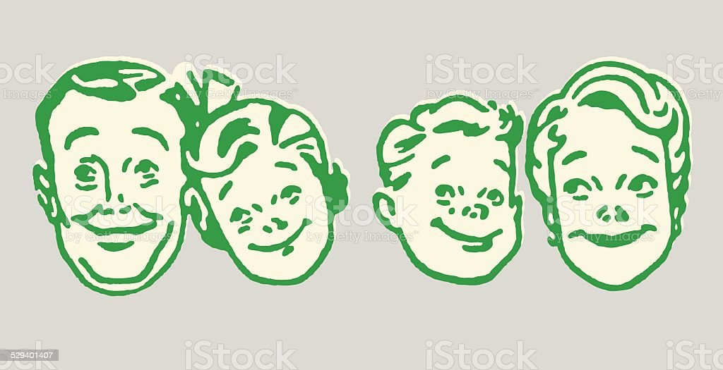 Family of Four vector art illustration