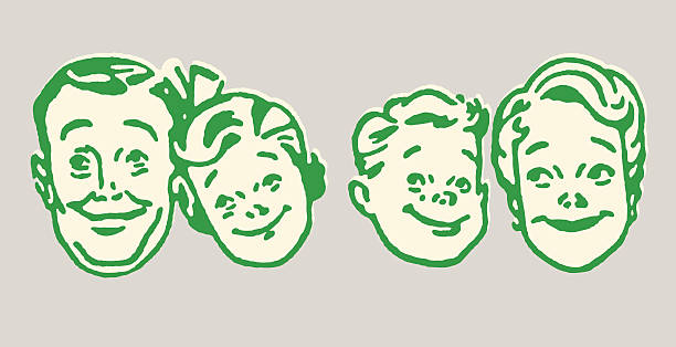 family of four - family reunion stock illustrations, clip art, cartoons, & icons