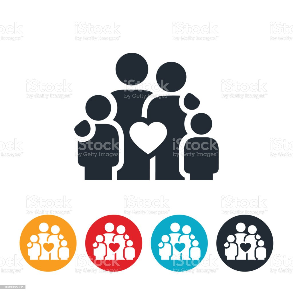 Family of Four with Heart Icon vector art illustration