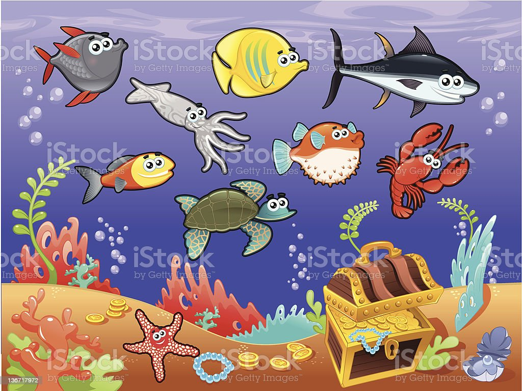 Family of funny fish under the sea. royalty-free family of funny fish under the sea stock vector art & more images of animal
