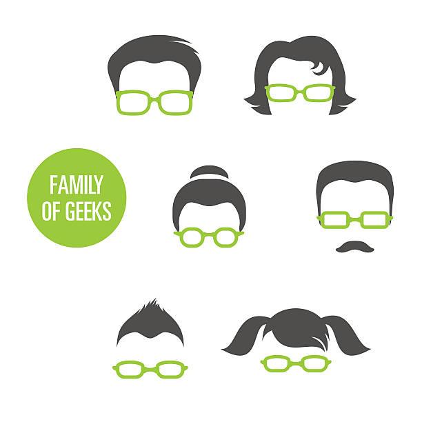 familie von geeks - uncool stock-grafiken, -clipart, -cartoons und -symbole